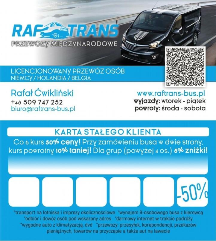 Karta stałego klienta Raftrans przewozy międzynarodowe osób Busy do Niemiec, bus do Holadii, bus do Niemiec